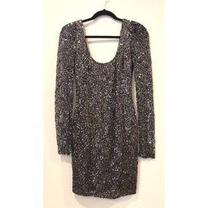Long Sleeve Sequin Mini Dress